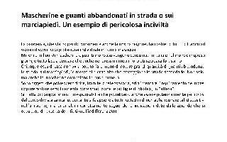 CORONAVIRUS E ABBANDONO DI GUANTI E MASCHERINE